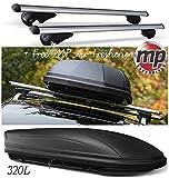 MP Essentials Lockable Aluminium Roof Rack Rail Bars & 320L Storage Box to fit Nissan X-Trail T32 2013 (+ FREE MP AIR FRESHENER)