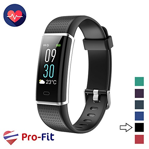 Pro-Fit Fitness Tracker, Activity Tracker with Color Screen, Heart Rate Monitor, 14 Sports Modes & Sleep Monitor, IP67 Waterproof Pedometer Watch, VeryFitPro Smart Wristband, Android & iOS (Black)