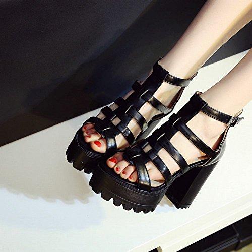 Carolbar Femmes Fermeture À Glissière Mode Fête Date Plate-forme Chic Chunky Haut Talon Robe Sandales Noir