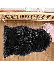 DAOXU Valse zwart fleece tapijt – Shaggy, elegant hoogpolig, pluizig, hoogwaardig kunstleer, wollen tapijt.