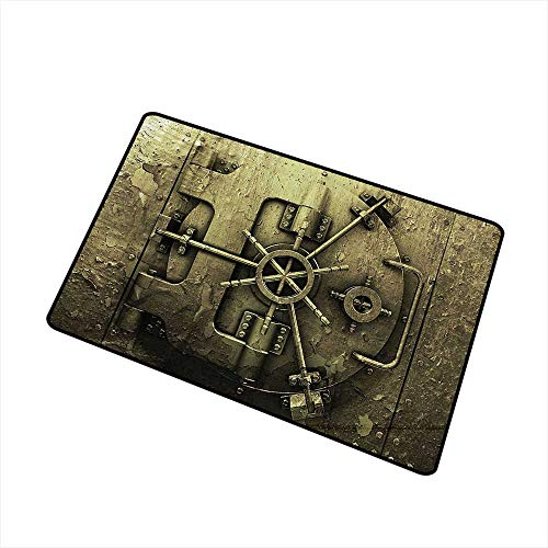 Mdxizc Non-Slip Door mat Rustic Decor Collection Grunge Style Bank Vault Illustration Safe Secure Precious Treasure Protection Image Pritn W35 xL59 Easy to Clean Dark Olive