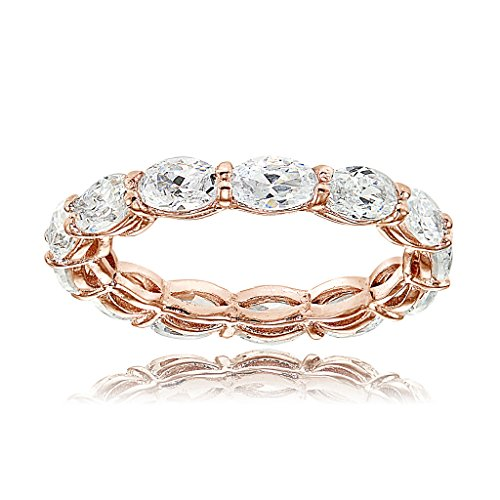 Rose Gold Flashed Sterling Silver Cubic  - Band Oval Ring Shopping Results