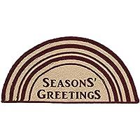 VHC Brands Classic Country Primitive Flooring - Burgundy Tan Jute Red Seasons Greetings Half Circle Rug