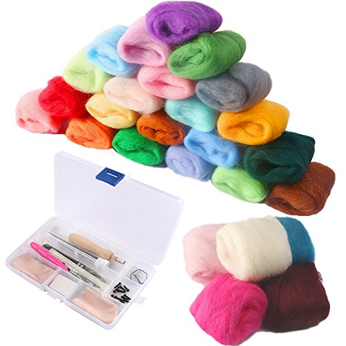 COCODE Needle Felting Starter Kit Set Felt Tools with 36 Colors Wool Felting Supplies Fibre Wool Yarn Roving for Hand Spinning DIY Craft Projects Good - Waldorf Kits Doll