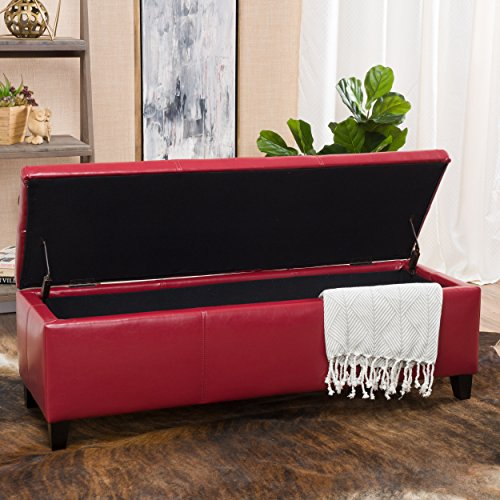 Christopher Knight Home 296847 Living Skyler Red Leather Storage Ottoman, 17. 50D x 51. 25W x 16. 25H, (Ottoman Large Red)