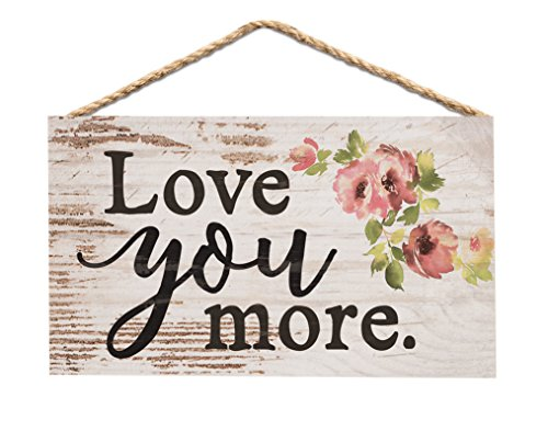 P. Graham Dunn Love You More Floral Whitewash 6 x 3.5 Wood Mini Wall Hanging Plaque Sign