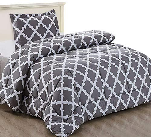 Hemau Printed Comforter Set (Twin/Twin XL, Grey) with 1 Pillow Sham - Luxurious Brushed Microfiber - Goose Down Alternative Comforter - Soft and Comfortable - Machine Washable | Style 503192222