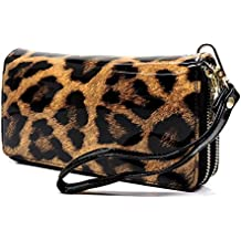 Faux Patent Leather Glossy Leopard Double Zip Around Clutch Wallet Wristlet