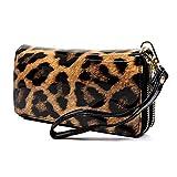 Elphis Faux Patent Leather Glossy Leopard Double Zip Around Clutch Wallet Wristlet (Black (4099LP))