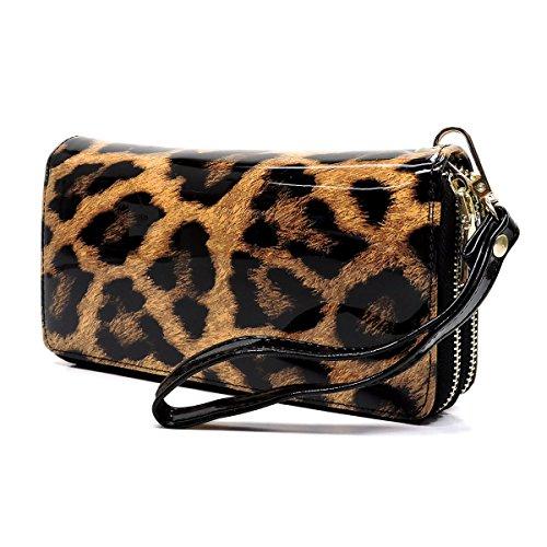 Elphis Faux Patent Leather Glossy Leopard Double Zip Around Clutch Wallet Wristlet (Black (4099LP)) (Purse Print Handbag Leopard)