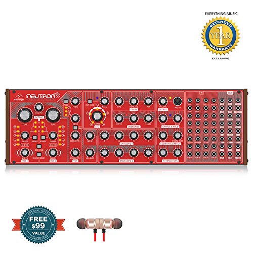 Behringer Neutron Paraphonic Analog and Semi-Modular Synthesizer includes Free Wireless Earbuds – Stereo Bluetooth In-ear and 1 Year Everything Music Extended Warranty