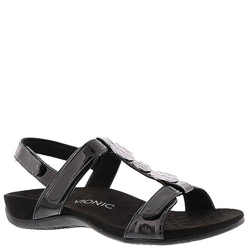 6583d1b55d52 Vionic Women s Rest Farra Backstrap Sandal Black Patent 7M  Amazon ...