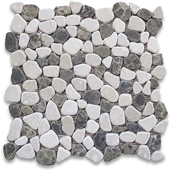 Amazoncom Carrara Mix Bardiglio Grey Marble River Rocks Pebble