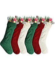 """Kunyida 18"""" Unique Burgundy and Ivory and Green Knitted Christmas Stockings,6 Pack"""