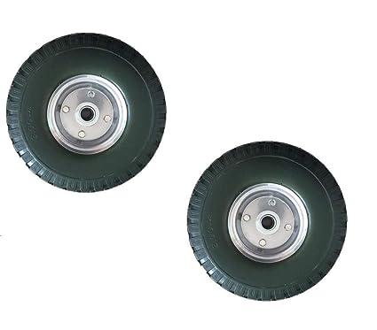 2 x PU Rueda para carretilla, 3.00 4/85 x 260 mm eje: