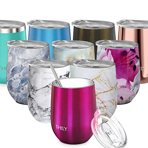 Vacuum Insulated Wine Tumbler Stemless - THILY T1 Stainless Steel Wine Glass with Lid and Straw, 12 oz, Reusable, Keep Drinks Hot or Cold, for Women Wife, Valentine Christmas Birthday Gifts, Magenta (Straws Wine Glasses With)