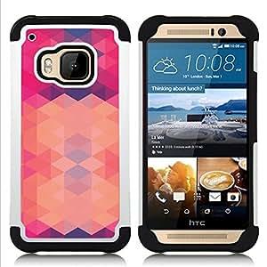 - polygon pink purple pattern abstract/ H??brido 3in1 Deluxe Impreso duro Soft Alto Impacto caja de la armadura Defender - SHIMIN CAO - For HTC ONE M9