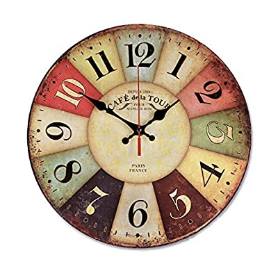 """Vintage Rustic Wall Clock 12"""" Round - Silent Kitchen Wall Clocks Battery Operated Non Ticking Quartz - Colorful Wooden Tuscan Country Farmhouse Style Decorative - Large Arabic Numerals Analog Display - Classic round shape. Size: 12""""(30cm); Thickness: 9mm; Design: Colourful Dial. Big wall clock with large arabic numerals are clear to read. Material: Wooden MDF, wood particle board painted, covered by colorful paper drawing, no frame nor glass cover. Ideal for a range of french, tuscan, paris, country, farmhouse, shabby beach, mediterranean, antique and vintage style decoration, with practical and beautiful combination. Silent Non-ticking wall clock with quality & quiet Taiwan SUN 12888 Scanning Quartz Movement, Precise quartz movements to guarantee accurate time. - wall-clocks, living-room-decor, living-room - 51VdZlT6fKL. SS400  -"""