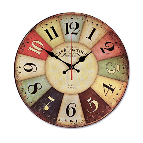 12 Inch Retro Wooden Wall Clock Farmhouse Decor, NALAKUVARA Silent Non Ticking Wall Clocks Large Decorative - Big Wood Atomic Analog Battery Operated - Vintage Rustic Colorful Tuscan Country - Frames Face For Your Shape