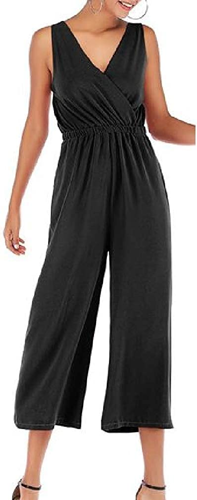 Cromoncent Women V-Neck Solid Backless Chiffon Sleeveless Pocket Ankle Jumpsuits