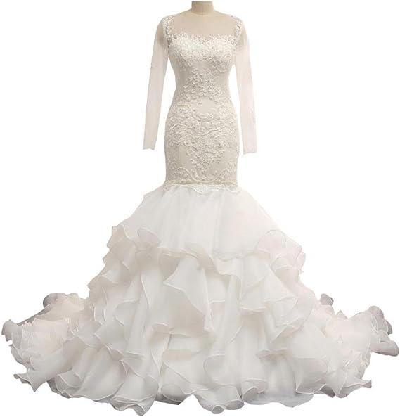 Fannydress Ruffles Wedding Dresses Mermaid Style Lace Applique