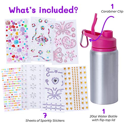 Purple Ladybug Decorate Your Own Water Bottle for Girls with Tons of Rhinestone Glitter Gem Stickers – BPA Free, Kids…