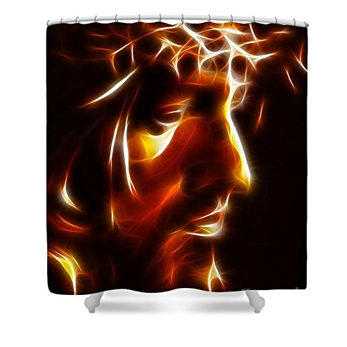 Pixels Shower Curtain (74'' x 71'') ''The Passion Of Christ'' by Pixels