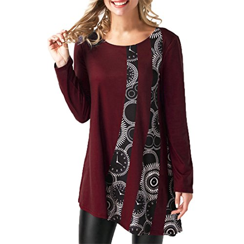 Luca Women Casual Print Patchwork Long Sleeve Solid T-Shirt O-Neck Pullover Blouse Tops (Wine Red, M)