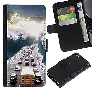 APlus Cases // Apple Iphone 4 / 4S // Road Ver Sol Tráfico Mermelada Wave // Cuero PU Delgado caso Billetera cubierta Shell Armor Funda Case Cover Wallet Credit Card