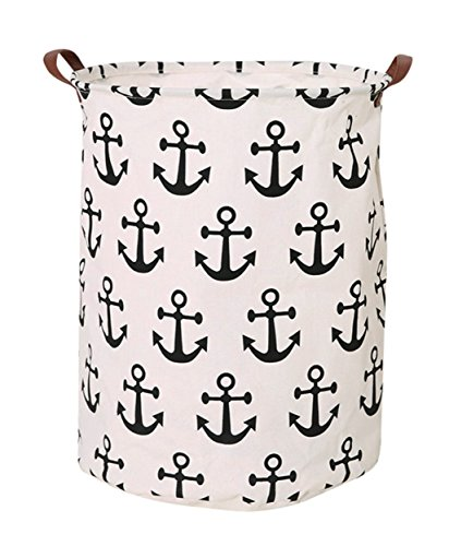 CLOCOR Large Storage Bin-Cotton Storage Basket-Round Gift Basket with Handles for Toys,Laundry,Baby Nursery(Anchor) - Storage Bin Size:15.7(D) * 19.7(H) inches,perfect basket for baby nursery kid's toys bins,toy basket,baby hamper,baby basket and dirty clothes hamper for boys and girls MATERIAL:The laundry basket is made of natural cotton and linen + waterproof PE coating lining ,and equip with two storng handles makes the laundry hamper easy to move,convenient and durable.. FEATURE:The design of clothes hamper is fashionable and stylish.collapsible laundry basket can be placed anywhere you want; you can fold when you don't need it.Kids laundry hamper and can be used for a long time. - living-room-decor, living-room, baskets-storage - 51VdaT9Ft L -