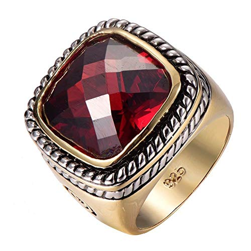FidgetFidget Big Garnet 925 Sterling Silver Bishop Cleric Cross Pope Christian Gold P. Ring 7 ()