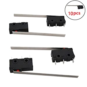 Twidec /10Pcs 5A 125 250V AC SPDT 1NO 1NC Very Long Straight Hinge Lever Arm Switch Snap Action Button Type 3 Pins Mini Micro Limit Switch KW11-3Z04