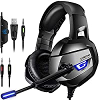 ONIKUMA Stereo Gaming Headset for PS4, Xbox One, PC, Enhanced 7.1 Surround Sound, Updated Noise Cancelling Mic Headphones, Soft Breathing Earmuffs, Mute & Volume Control for Nintendo Switch Laptop