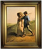 Historic Art Gallery Going to Work 1851 by Jean-Francois Millet Framed Canvas Print, 16'' x 20'', Gold Leaf