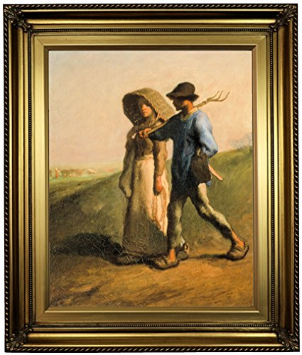 Historic Art Gallery Going to Work 1851 by Jean-Francois Millet Framed Canvas Print, 16'' x 20'', Gold Leaf by Historic Art Gallery