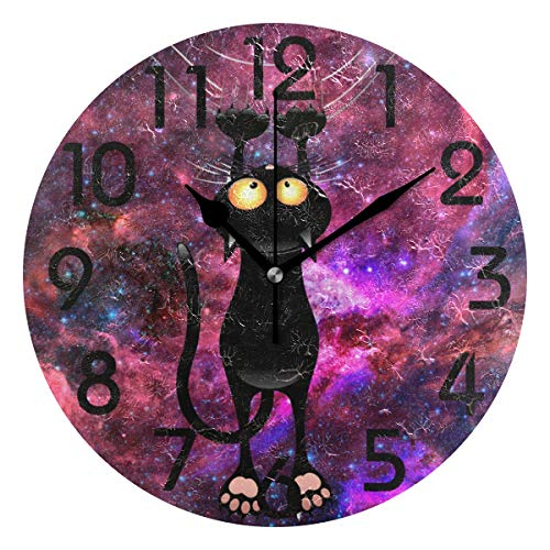 (Naanle Magic Cute Black Cat Scratch Space Print with Shiny Hair Gold Sunglasses Round Wall Clock Decorative, 9.5 Inch Battery Operated Quartz Analog Quiet Desk Clock for Home,Office,School)