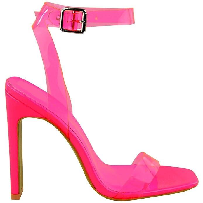 Sandalias baratas de tacón transparente rosa neón