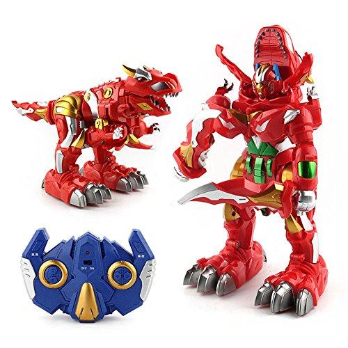 Liebeye 変身恐竜ロボットモデル 光の音 変える リモートコントロール 子供たちのおもちゃ ギフト レッド