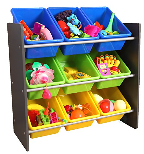 3-Tier Kid's Toy Storage Organizer with 9 Plastic (Nine Bin Toy Organizer)