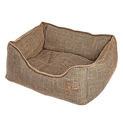 GOBUDDY Square Pet Bed For Cats & Dogs - Ultra Soft & Comfortable Cuddler Pet Bed - Reversible Removable Linen Cushion Prevents Overheating - Improves Sleep For Small, Medium & Large Animals