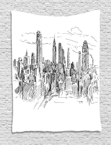 "Ambesonne New York Tapestry, Hand Drawn NYC Cityscape Tourism Travel Industrial Center Town Modern City Design, Wall Hanging for Bedroom Living Room Dorm Decor, 40"" X 60"", Black White"