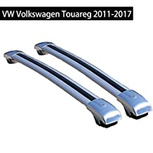 Lockable Roof Rack Crossbars for VW Volkswagen Touareg 2011-17 Baggage Roof Rack Rail Cross Bar - Silver
