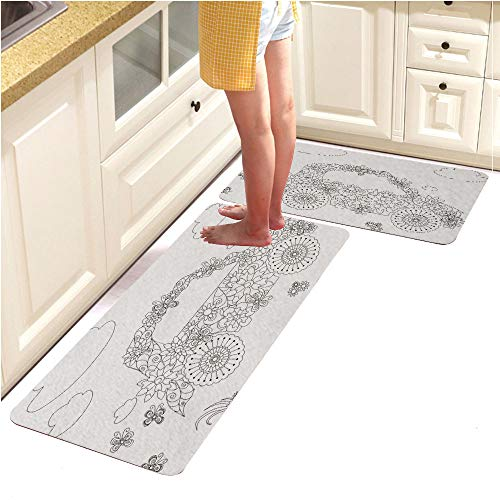 Pebbles Alphabet Page (Rugs Runner Rug -Non Skid Carpet Entry Rugs Runners for Kitchen and Entryway,Flowers car Adult Coloring Page Anti Stress (18
