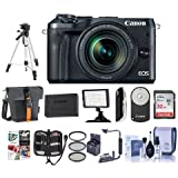Canon EOS M6 Mirrorless Digital Camera Black with EF-M 18-150mm f/3.5-6.3 IS STM Lens - Bundle with Holster Case, 32GB SDHC Card, Spare Battery, Tripod, Video Light, Software Package, And More
