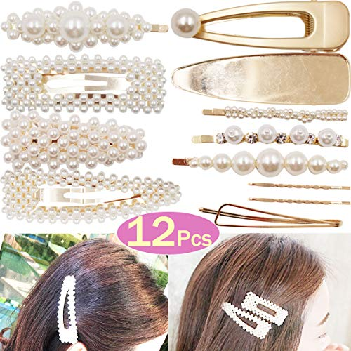 (DeD 12Pcs Pearl Hair Clip For Women Pearl Wrapped Bobby Pin Hairpins Barrettes, Wedding Bridal Ornaments For Ladies Girls(Gold))