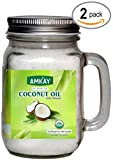 #6: Amkay Organic Coconut Oil Extra Virgin Cold Pressed Unrefined for Hair, Skin, Cooking, Baking ,Health, Beauty, Pets, Aromatherapy USDA Certified 2-Pack (Total 30 oz)