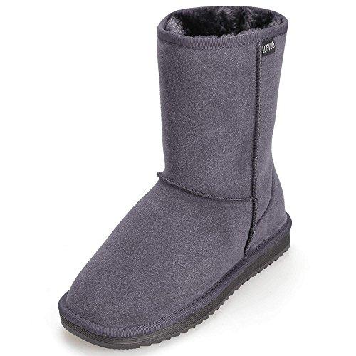 Womens Lined Gray Winter Fur ACEVOG Snow Cozy Short Boot EVA Suede Shoes SWwwFdqTx6