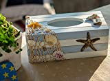Decorative-Vintage-Decor-Wood-Tissue-Box-Cover-Yacht-Shell-Fishnet-Beach-Pumping-Tray-Starfish