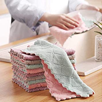 Household Kitchen Cleaning Towels Wash Cloths Dishcloth Reuseable Quick Drying Super Absorbent for Cooking FDAUY 10 Pack Dish Cloths for Kitchen 10x6in