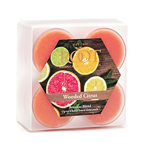 Root Scented Tealight Beeswax Candles, Box of 8, Wooded Citrus, 8 Piece